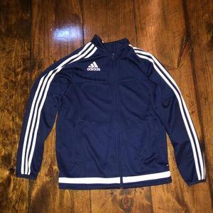 blue and white zip up sweatshirt.